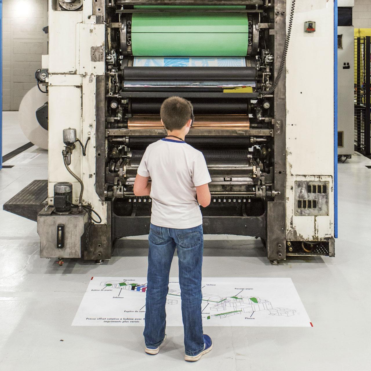 Machine en fonctionnement - Atelier - AMI - Atelier Musée de l'Imprimerie - Malesherbes France